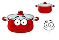Little red cartoon cooking saucepan with a lid or pot and happy smile isolated on white Royalty Free Stock Photography