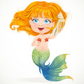 Little red-haired girl mermaid hears sounds in she Royalty Free Stock Image