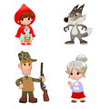 Little red hiding hood s characters funny cartoon and vector isolated items Royalty Free Stock Photography