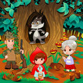 Little red hiding hood scene funny cartoon and vector illustration Royalty Free Stock Photo