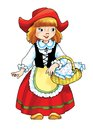 Little red riding hood charles perrault girl granddaughter basket pies napkin Royalty Free Stock Image