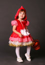 Little red riding hood in costume Stock Photo