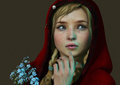 Little red riding hood d cg computer graphics of a girl with a and a bouquet of forget me not Royalty Free Stock Photos