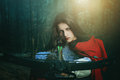 Little red riding hood dangerous hunter fairy tale and fantasy Royalty Free Stock Photo