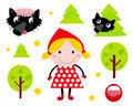 Little Red Riding Hood icon collection Royalty Free Stock Photos