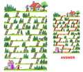 Little Red Riding Hood maze for kids Royalty Free Stock Photo
