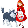 Little red riding hood and wolf meeting a Royalty Free Stock Photos
