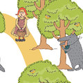 Little red riding hood and the wolf in wood Stock Images