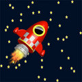 Little red rocket ship flying in the universe Royalty Free Stock Photo