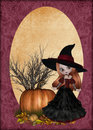 Little Redhaired Witch Background Royalty Free Stock Photography