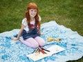 Little Redhead Girl Drawing