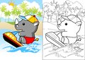 Rhino cartoon on speed boat
