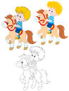 Little rider boy riding a pony three versions of the illustration Stock Image