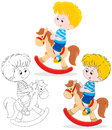 Little rider boy riding on a toy horse three versions of the illustration Stock Image
