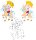 Little rider girl riding a pony three versions of the illustration Stock Image