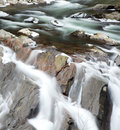 Little river in great smoky mountains flowing through ice covered rocks national park the winter near gatlinburg tennessee Royalty Free Stock Image