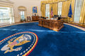 Little Rock, AR/USA - circa February 2016: Replica of White House's Oval Office in Bill Clinton Presidential Center and Library Royalty Free Stock Photo