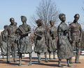 Little rock nine civil rights memorial statue of central high school s Stock Images