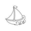 Little sailboat. Children`s toy.