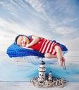 Little sailor during a short nap cute Stock Image