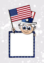 Little sam box cute uncle waving flag of the usa Royalty Free Stock Photography