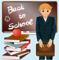 Little schoolboy with schoolbag and books vector Royalty Free Stock Images