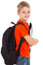 Little schoolboy schoolbag with looking at the camera Royalty Free Stock Photos