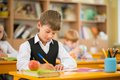 Little schoolboy sitting behind school desk during lesson in school Royalty Free Stock Image