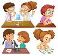 Little scientists illustration of the on a white background Stock Image