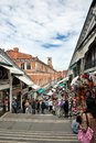 Little shops and tourists in venice veneto italy june walking on the rialto bridge Royalty Free Stock Photos