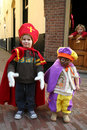 Little Sinterklaas and Zwarte Piet Stock Images
