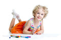 Little smiling child with color pen over white felt Royalty Free Stock Images