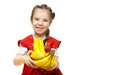 Little smiling girl with bananas Royalty Free Stock Photo