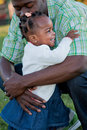 Little Smiling Girl Hug Dad Royalty Free Stock Photos