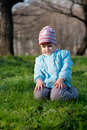 Little smiling little girl at forest Royalty Free Stock Photos