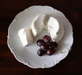 A little snack, ricotta and grapes Stock Photo