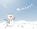 Little snowman illustration of a small in a winter landscape Stock Photo