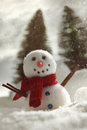 Little snowman with snow background wintery Royalty Free Stock Images