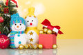 Little Snowmen And Christmas Decorations Close-up