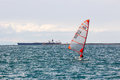 Little sport ship in the sea of italy young skipper training with Stock Photo