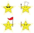 Little stars set of four illustrated cartoon Stock Image