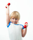 Little strong man dumbbells Royalty Free Stock Photography