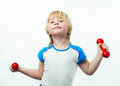 Little strong man dumbbells Stock Photos