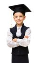 Little student in academic cap with hands crossed half length portrait of isolated on white concept of graduation and study Stock Photography