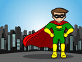 Little superhero a cartoon of a defend the city Stock Photos