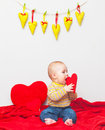 Little sweet boy with heart Royalty Free Stock Image