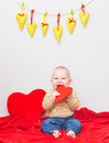 Little sweet boy with heart Royalty Free Stock Photography
