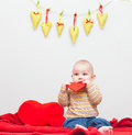 Little sweet boy with heart Stock Photo