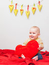 Little sweet boy with heart Royalty Free Stock Photos