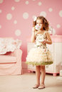 Little sweet girl with tea cute and Royalty Free Stock Photo